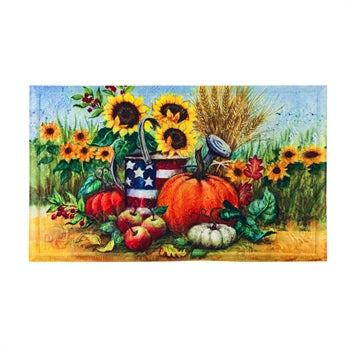 Patriotic Fall Watering Can Embossed Floor Mat