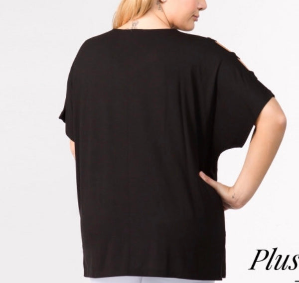 Black ladder sleeve open shoulder top Plus