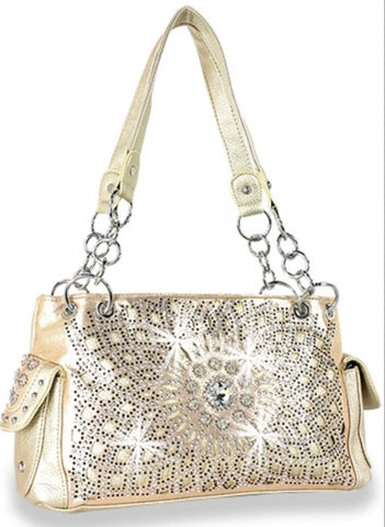 Gold Conceal carry rhinestone handbag