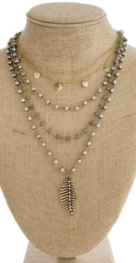 Gray multi layer feather necklace