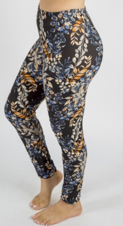 Blue multi leaf print peachskin legging