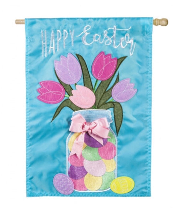 Easter mason jar bouquet house flag