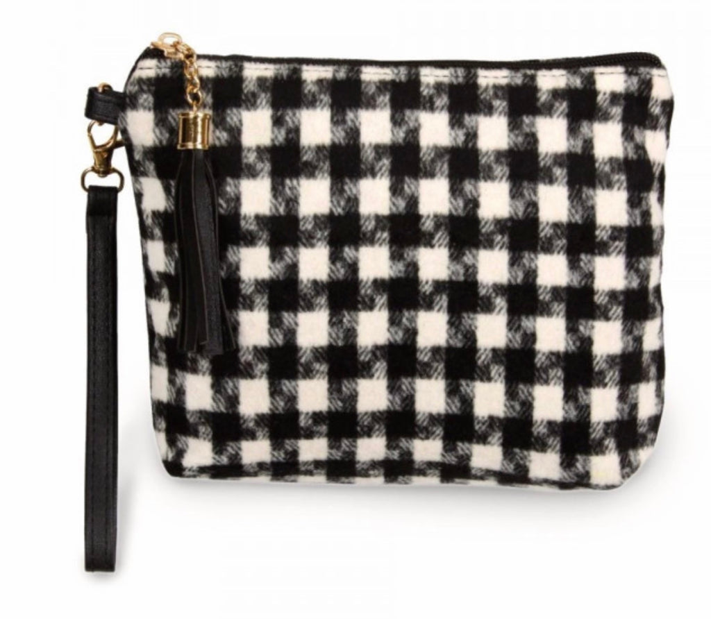 Black houndstooth pouch bags