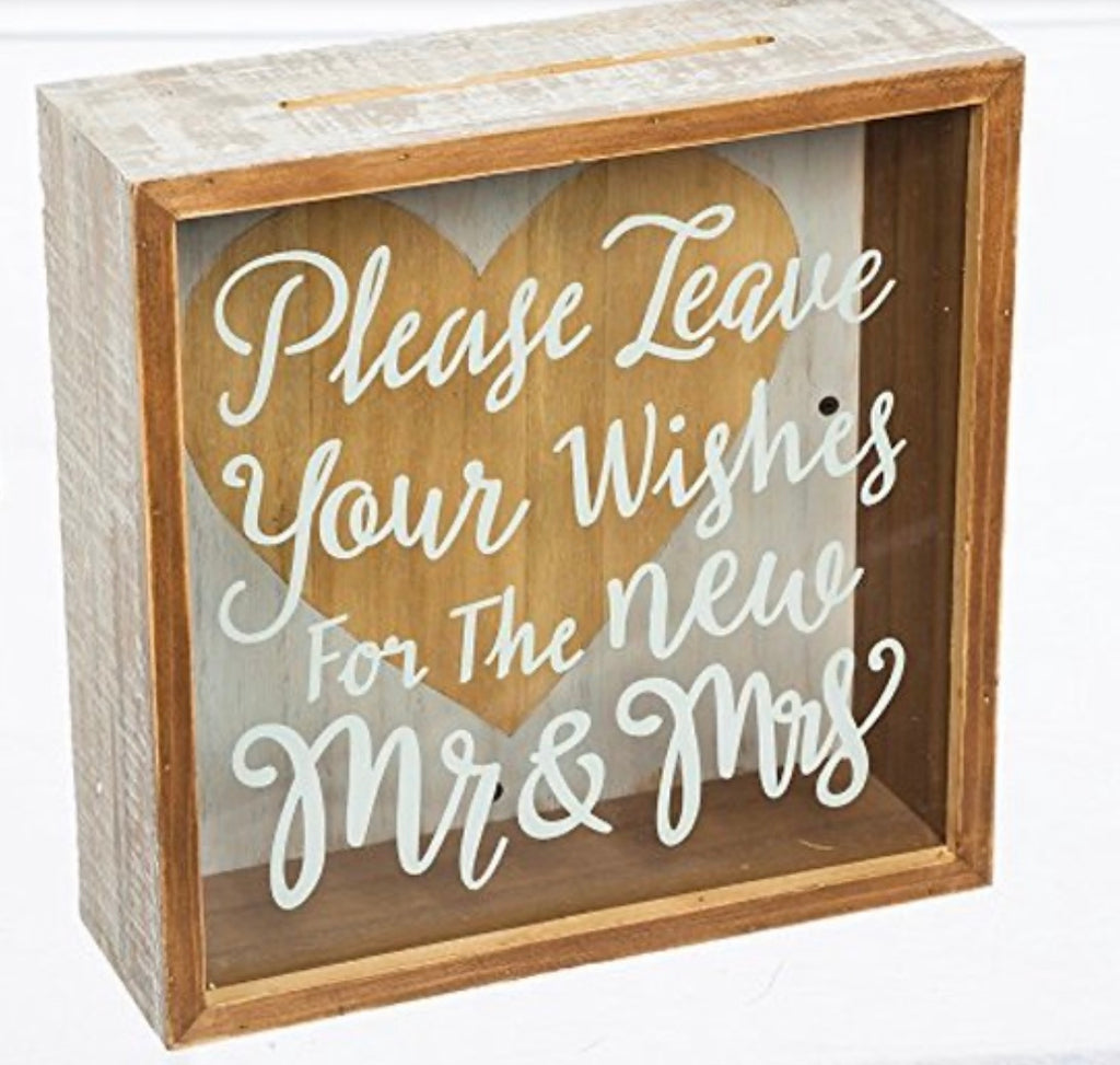 Wishes for The Mr. & Mrs. Wooden Shadow Card Box