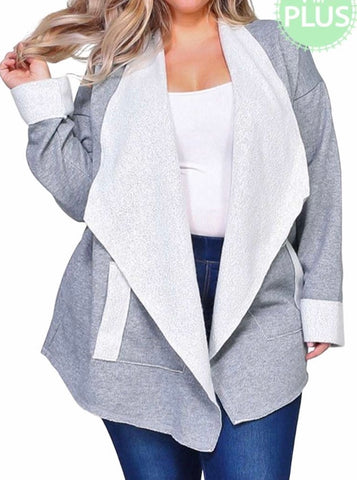 Heather Gray open front jacket Plus