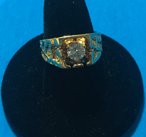 Men's vintage crystal CZ solitaire gold design ring