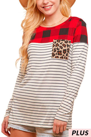Red PLAID AND STRIPE TOP WITH LEOPARD POCKET Plus