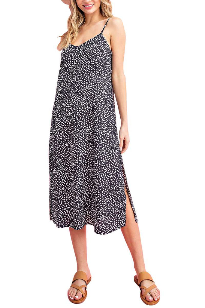 Navy Animal Print Slip Dress