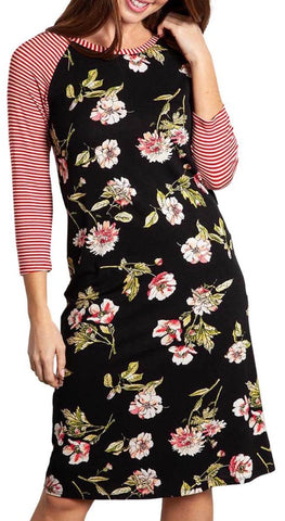 Black red white floral stripe dress