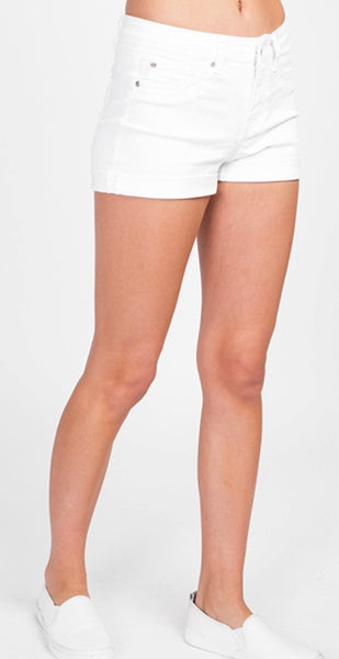 White denim mid rise cuff hem shorts