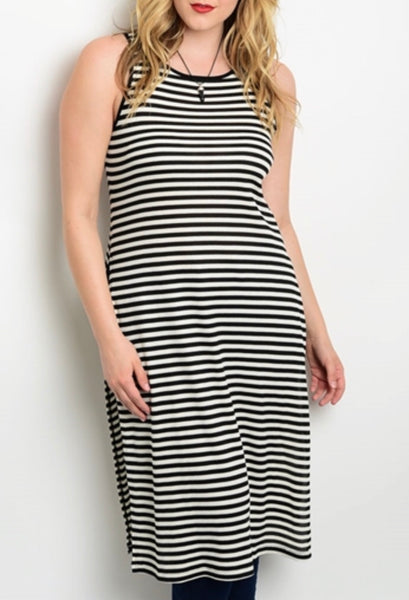 Black white stripe long tank plus