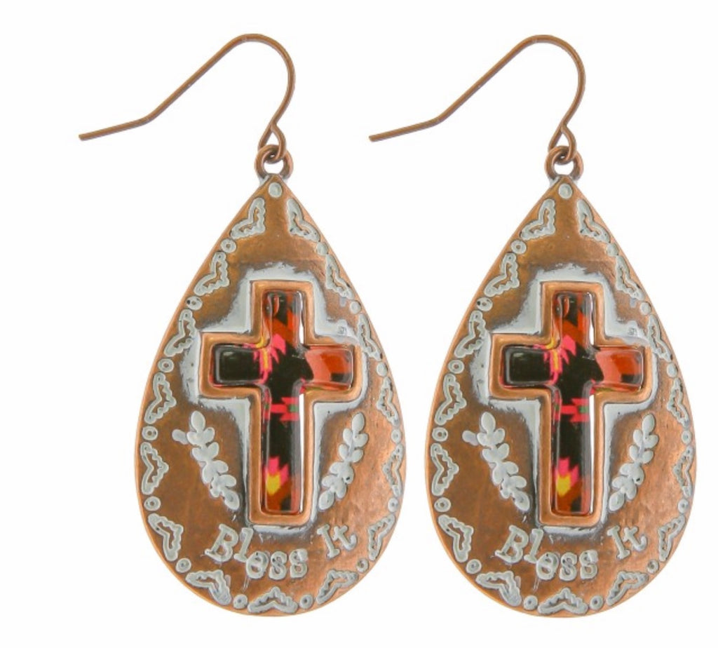 Copper cross earring