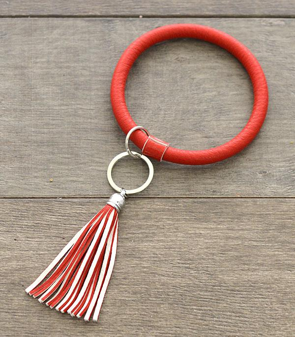 Red Faux Leather Bangle Keychain