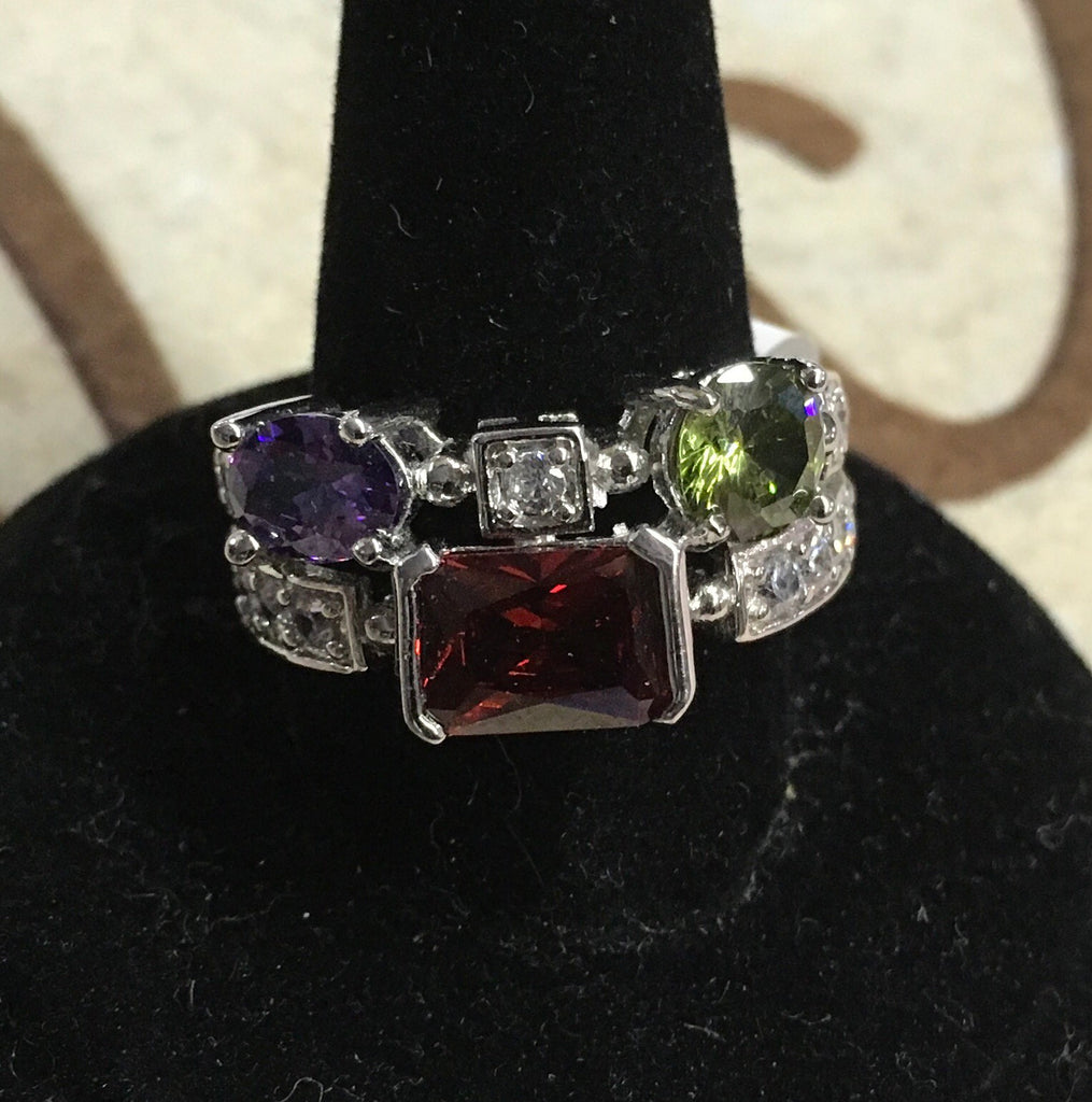 Red purple green multi crystal silver ring
