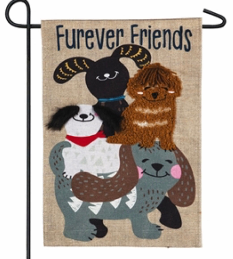 Pet Furever Dog Friends Garden Burlap Flag