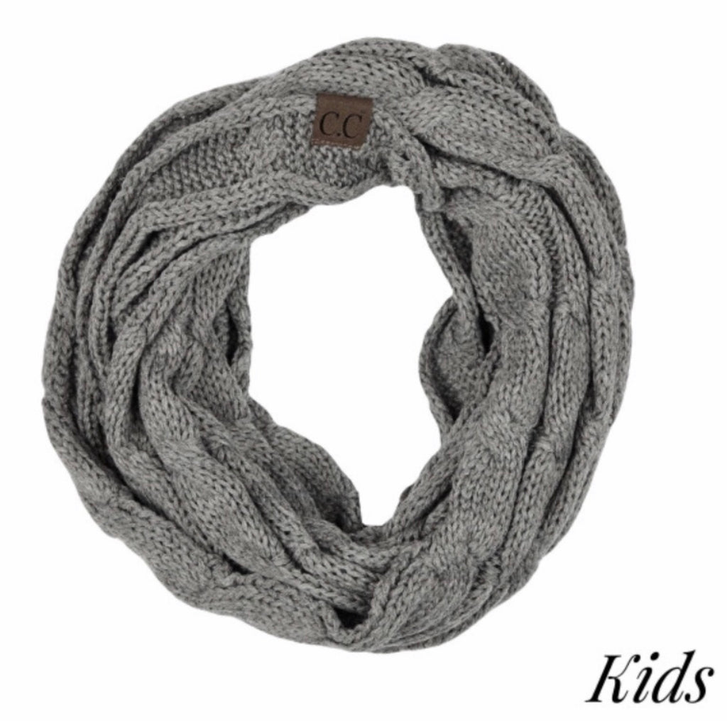 Kids Light gray CC beanie scarf