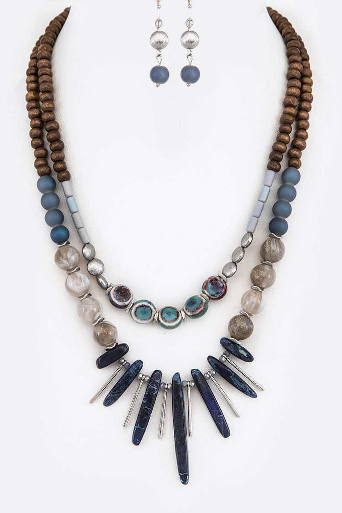 Blue Mix Natural Beads Spear Collar Necklace Set