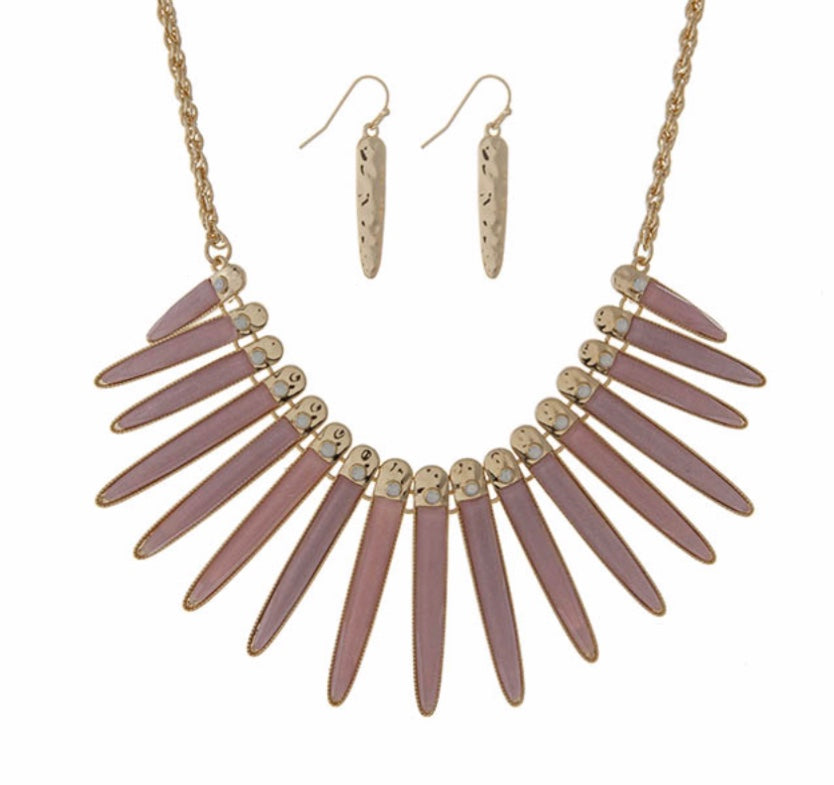 pink with opal stones fringe necklace set