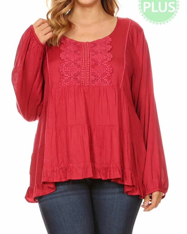 Burgundy crochet detail baby doll tiered top Plus