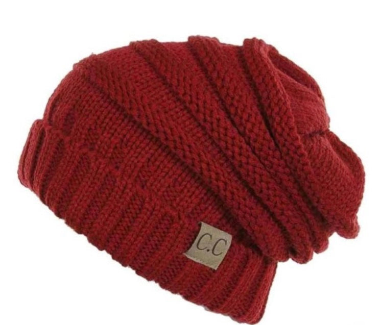 Red CC beanie slouchy hat