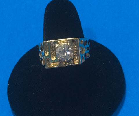 Men's vintage CZ nugget filigree gold design ring
