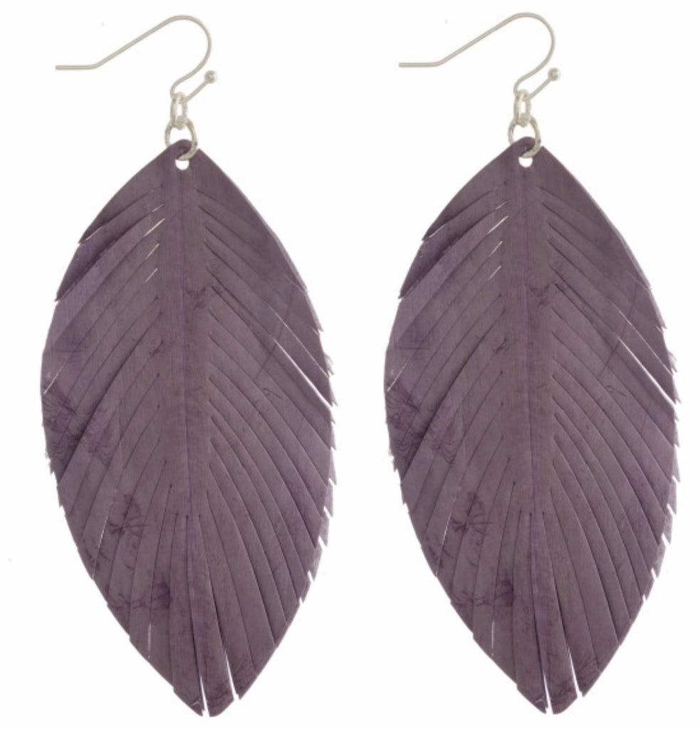 Lavender leather leaf earring