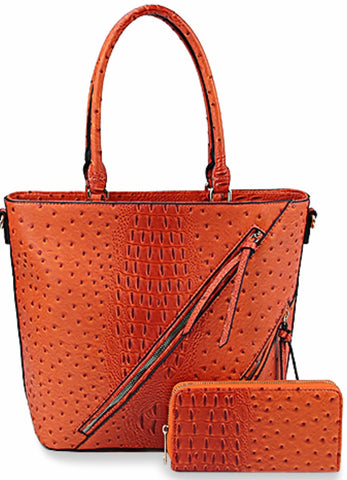 Pumpkin Orange Classic Embossed Tote Handbag SET