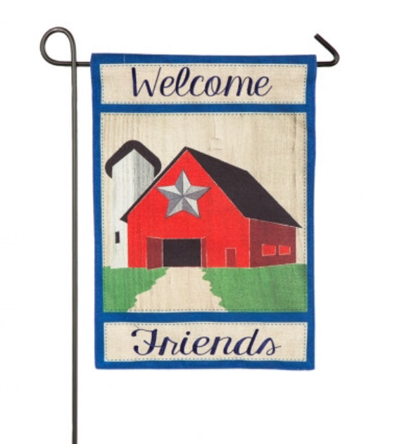 Country Barn Star burlap garden flag