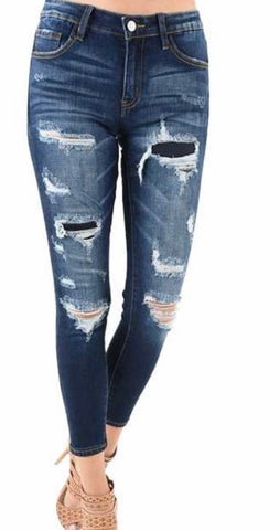 Denim Nature distressed patch jean