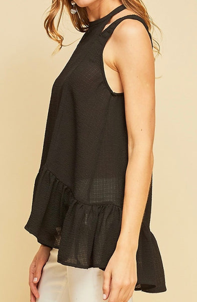 Black crinkled halter style top SIZE SMALL ONLY LEFT