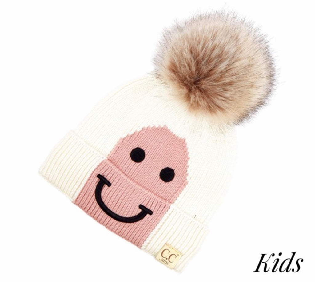 Kids Ivory rose CC beanie smile
