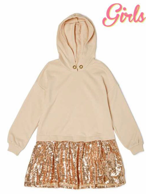 Girls sequin hoodie dress