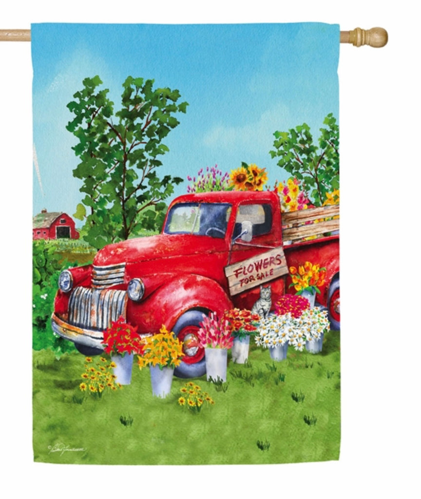 Red Flower Truck House Suede Flag