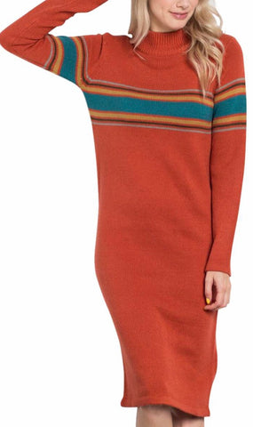 Rust mock neck retro stripe dress