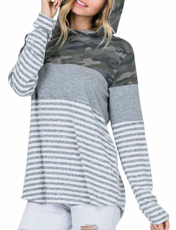 Gray Camouflage Striped Hooded Top