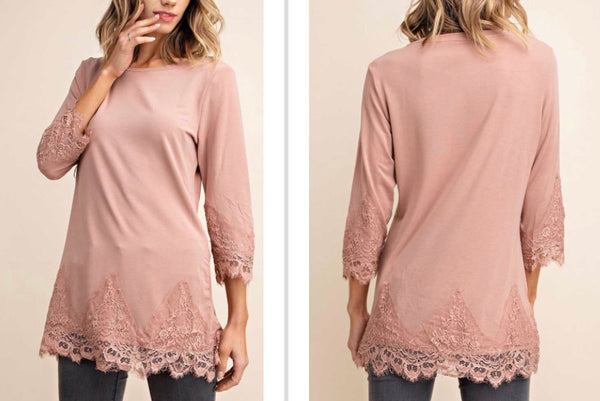 Sweet Apricot jersey lace detail top