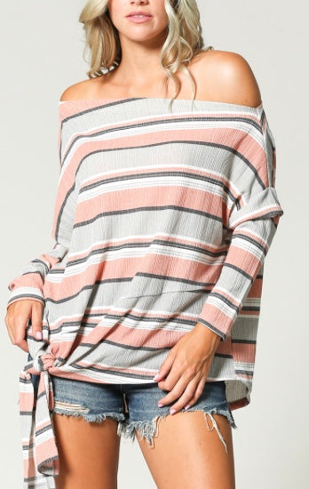 Pink, blue, gray Stripe off shoulder top with front tie