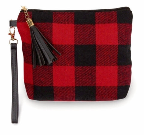 Red Buffalo plaid wristlet bag