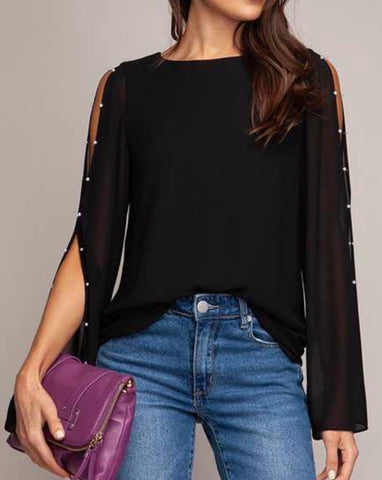 Black pearl embellished blouse top
