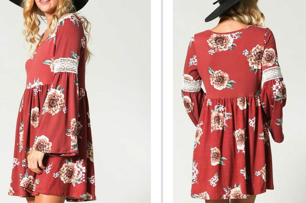 Marsala floral bell sleeve with lace dress