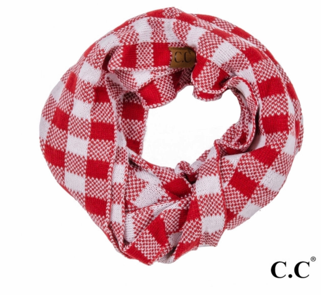 Red white plaid CC beanie infinity scarf