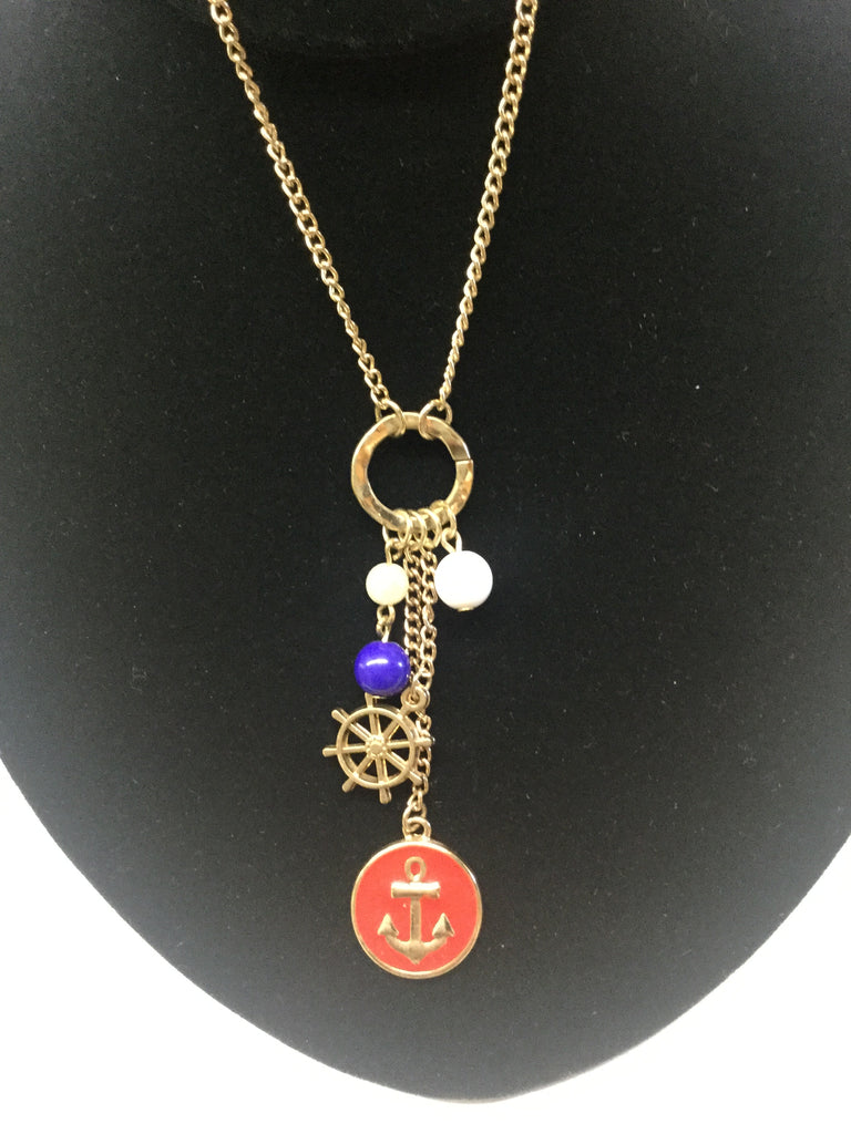 Notical necklace set anchor and captains wheel