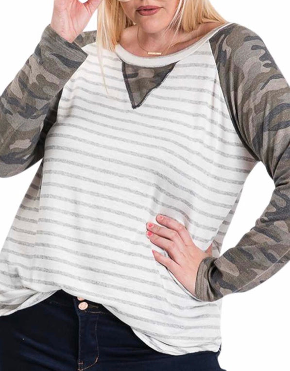 Camo striped Sleeve Top PLUS