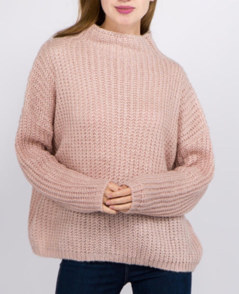 Pink chunky knit turtleneck top