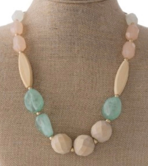 Mint natural stone wooden bead statement necklace