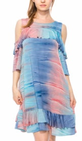Blue colorful dyed ruffled cold shoulder dress plus size