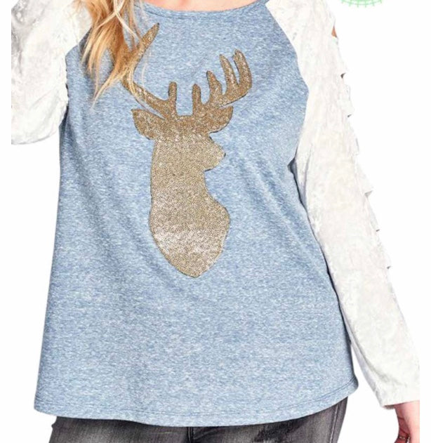 Denim blue sequin reindeer cold sleeve top PLUS