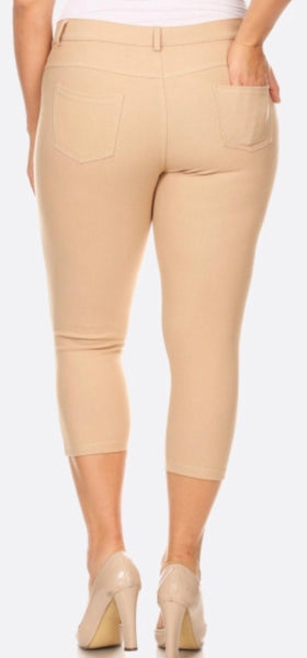 Khaki Capri jeggings plus
