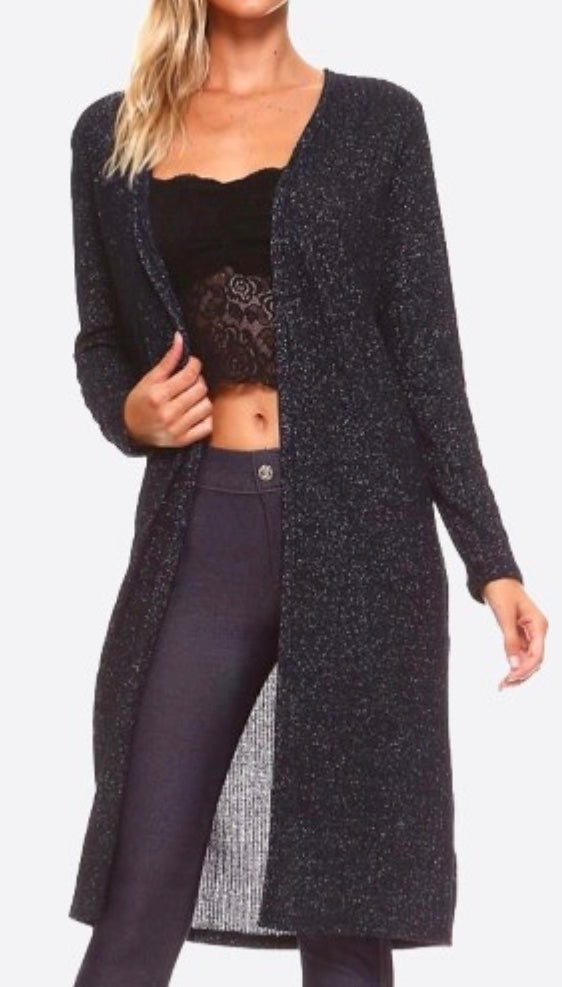 Black shimmer ribbed texture cardigan