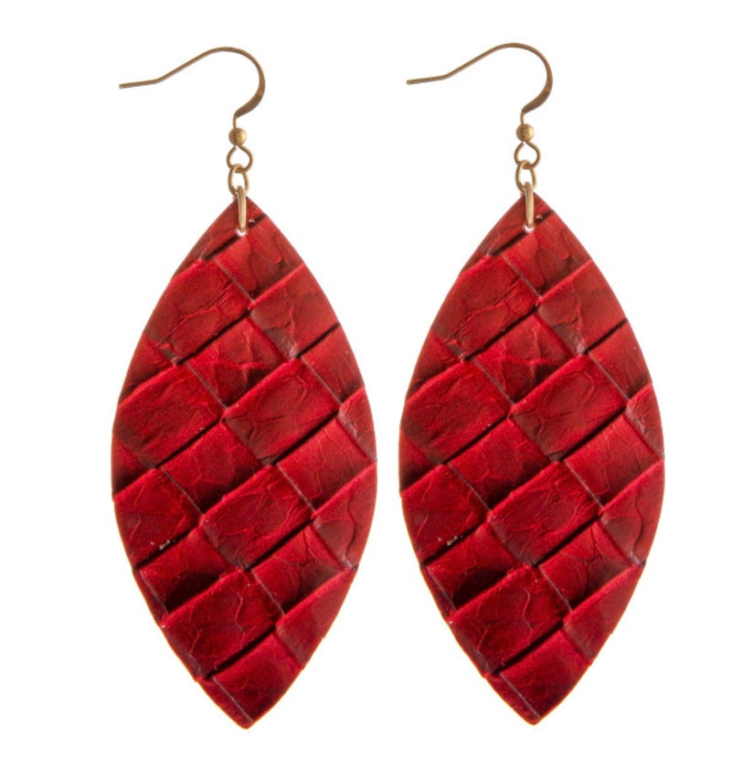 Red oval leather earrings